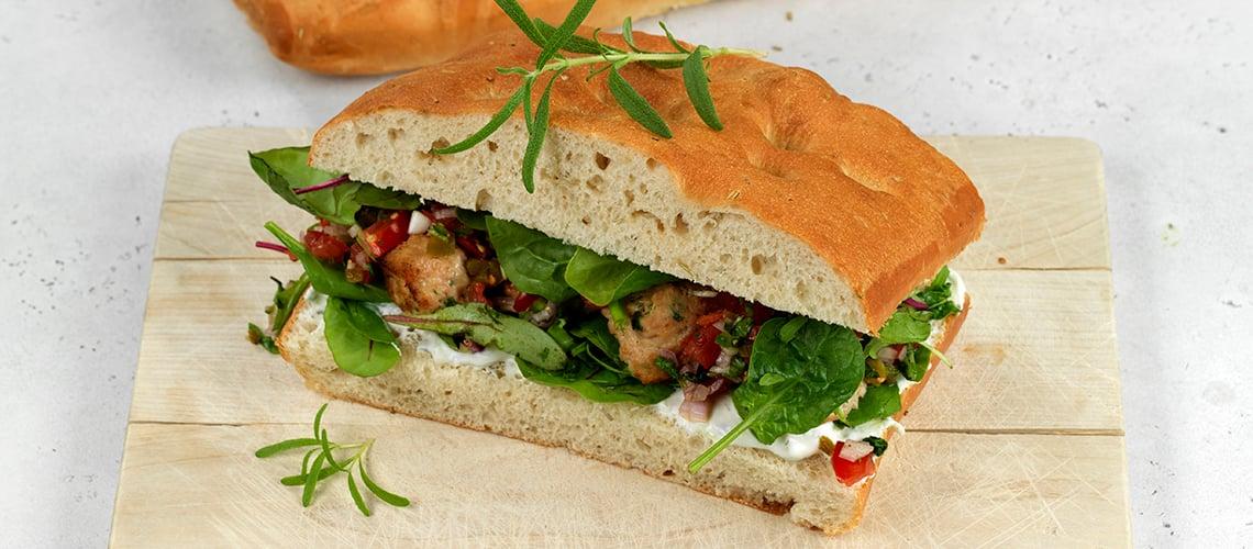 Deigemne av focaccia er perfekt som sandwich-brød