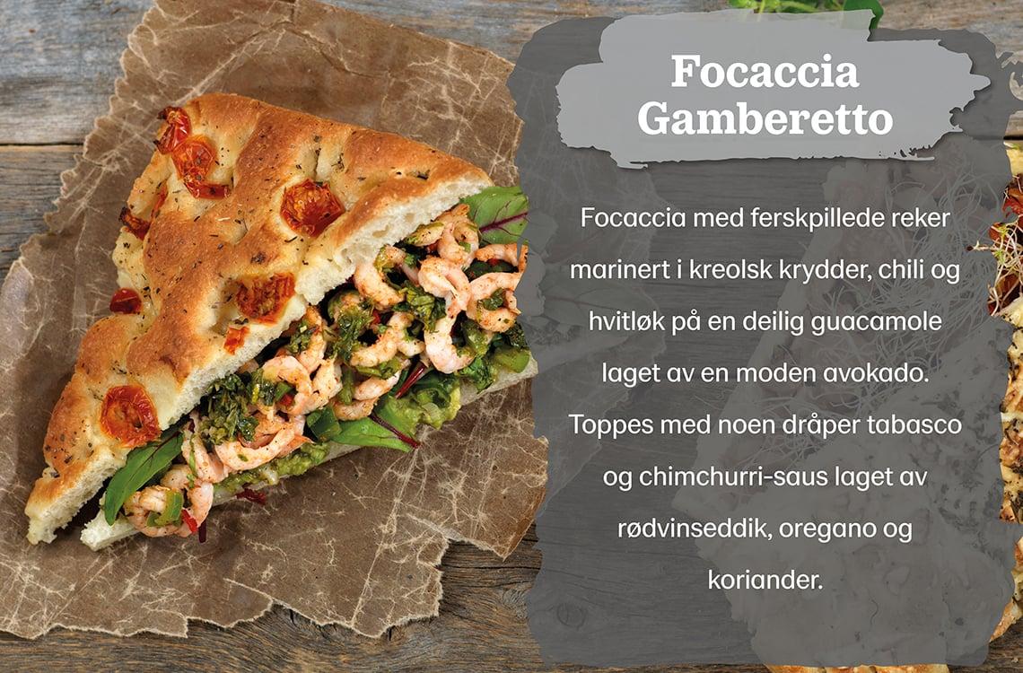 Oppskrift på focaccia gamberetto