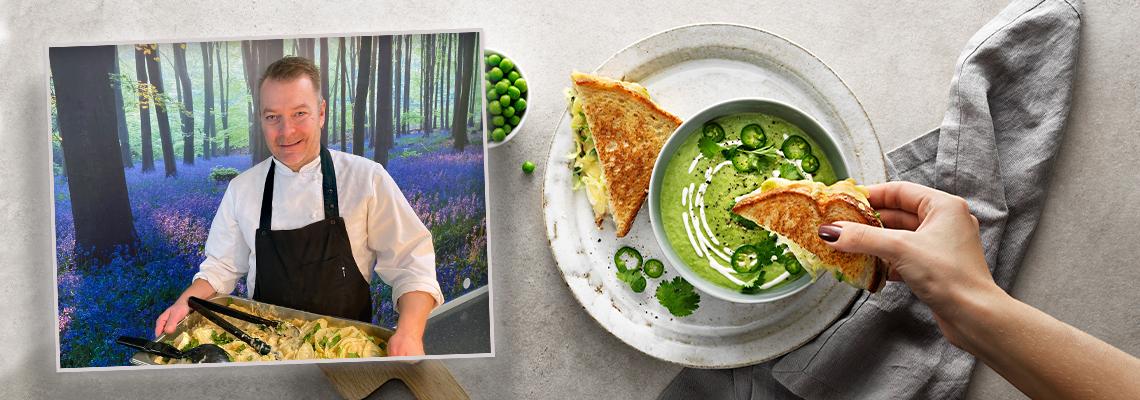 Andre Solheim innfelt i bilde av suppe med brød