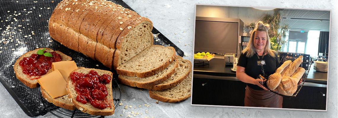 Ferdigskåret brød av bake-off er en favoritt for frokostsjef Lena ved Comfort Hotel Square